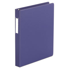 "Universal® Deluxe Non-View D-Ring Binder with Label Holder, 3 Rings, 1"" Capacity, 11 x 8.5, Navy Blue"
