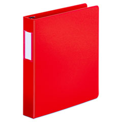"Universal® Deluxe Non-View D-Ring Binder with Label Holder, 3 Rings, 1.5"" Capacity, 11 x 8.5, Red"
