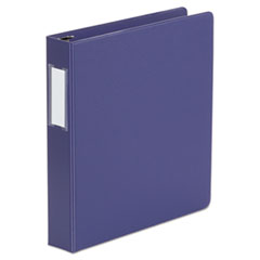 "Universal® Deluxe Non-View D-Ring Binder with Label Holder, 3 Rings, 1.5"" Capacity, 11 x 8.5, Navy Blue"