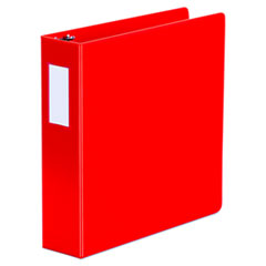 "Universal® Deluxe Non-View D-Ring Binder with Label Holder, 3 Rings, 2"" Capacity, 11 x 8.5, Red"