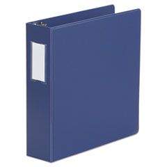 "Universal® Deluxe Non-View D-Ring Binder with Label Holder, 3 Rings, 2"" Capacity, 11 x 8.5, Royal Blue"