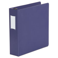"Universal® Deluxe Non-View D-Ring Binder with Label Holder, 3 Rings, 2"" Capacity, 11 x 8.5, Navy Blue"