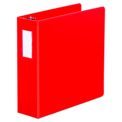 "Universal® Deluxe Non-View D-Ring Binder with Label Holder, 3 Rings, 3"" Capacity, 11 x 8.5, Red"