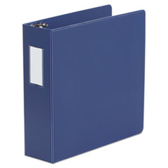 "Universal® Deluxe Non-View D-Ring Binder with Label Holder, 3 Rings, 3"" Capacity, 11 x 8.5, Royal Blue"