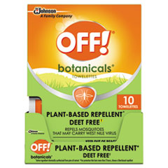 OFF!® Botanicals Insect Repellant, Box, 10 Wipes/Pack, 8 Packs/Carton