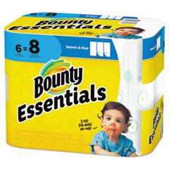 Bounty® Essentials Select-A-Size Kitchen Roll Paper Towels, 2-Ply, 83 Sheets/Roll, 6 Rolls/Carton