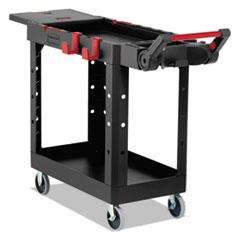 Rubbermaid® Commercial Heavy Duty Adaptable Utility Cart, 2 Shelves, 17.8w x 46.2d x 36h, Black