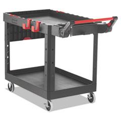 Rubbermaid® Commercial Heavy Duty Adaptable Utility Cart, 2 Shelves, 25.2w x 51.5d x 36h, Black