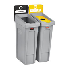 Rubbermaid® Commercial Slim Jim Recycling Station Kit, 46 gal, 2-Stream Landfill/Bottles/Cans
