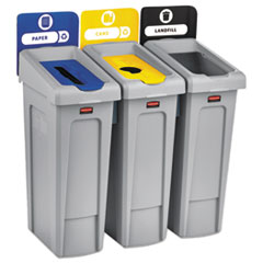 Rubbermaid® Commercial Slim Jim Recycling Station Kit, 69 gal, 3-Stream Landfill/Paper/Bottles/Cans