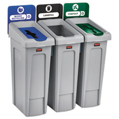 Rubbermaid® Commercial Slim Jim Recycling Station Kit, 69 gal, 3-Stream Landfill/Mixed Recycling
