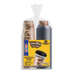 Dart® Bistro Hot/Cold Foam Cups With Lids, 12 oz, Brown, 50/PK