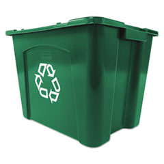 Rubbermaid® Commercial Recycling Box, Rectangular, 14 gal, Green