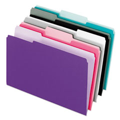 Interior File Folders, 1/3-Cut Tabs, Letter Size, Assortment 1, 100/Box