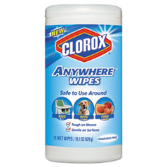 Clorox® Anywhere Wipes, 7 x 8, Fragrance-Free, 75 Wipes/Canister, 6/Carton