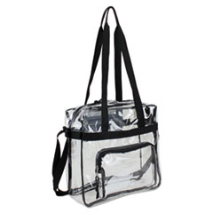 Eastsport® Clear Stadium Approved Tote, 12 x 5 x 12, Black/Clear