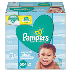 Pampers® Complete Clean Baby Wipes, 1 Ply, Baby Fresh, 504/Pack