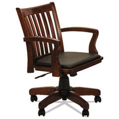 Alera® Alera Postal Series Slat-Back Wood/Leather Chair, Supports up to 275 lbs., Cherry Seat/Black Back, Cherry Base