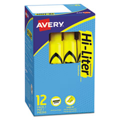 Avery® HI-LITER Desk-Style Highlighters, Chisel Tip, Yellow, Dozen