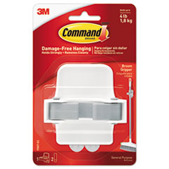 Command™ Broom Gripper, 3.12w x 2.43d x 3.34h, White/Gray, 1 Gripper/2 Strips