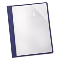 Oxford™ Linen Finish Clear Front Report Cover, 3 Fasteners, Letter, Navy, 25/Box