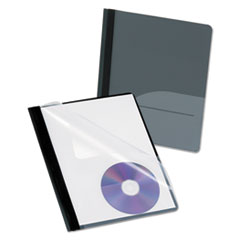 Oxford™ Clear Front Report Cover, CD Pocket, 3 Fasteners, Letter, Black, 25/Box