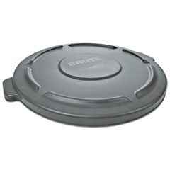 "Rubbermaid® Commercial Round Flat Top Lid, for 55 gal Round BRUTE Containers, 26.75"" diameter, Gray"