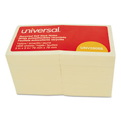 Universal® Recycled Self-Stick Note Pads, 3 x 3, Yellow; 100-Sheet, 18/Pack