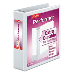 """Cardinal® Performer ClearVue Round Ring View Binder, 3 Rings, 2"""" Capacity, 11 x 8.5, White"""