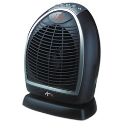 "Alera® Digital Fan-Forced Oscillating Heater, 1500W, 9 1/4"" x 7"" x 11 3/4"", Black"
