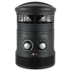 "Alera® 360 Deg Circular Fan Forced Heater, 8"" x 8"" x 12"", Black"