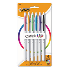 BIC® Cristal Up Ballpoint Pen, Stick, Medium 1.2 mm, Assorted Ink Colors, White Barrel, 6/Pack