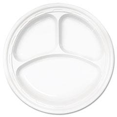 "Dart® Famous Service Plastic Dinnerware, Plate, 3-Comp, 10 1/4"" dia, White, 500/Carton"