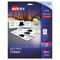 Avery® Printable Tickets w/Tear-Away Stubs, 97 Bright, 65lb, 8.5 x 11, White, 10 Tickets/Sheet, 20 Sheets/Pack