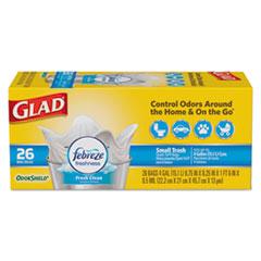 "Glad® OdorShield Quick-Tie Small Trash Bags, 4 gal, 0.5 mil, 8"" x 18"", White, 156/Carton"