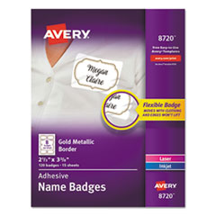 Flexible Adhesive Name Badge Labels, 3 3/8 x 2 1/3, White/Gold Border, 120/PK