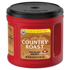 Folgers® Country Roast Coffee, Country Roast, 25.1 oz Canister, 6/Carton
