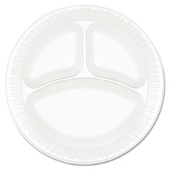 "Dart® Concorde Foam Plate, 3-Comp, 9"" dia, White, 125/Pack, 4 Packs/Carton"