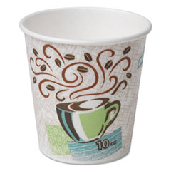 Dixie® PerfecTouch Paper Hot Cups, 10 oz, Coffee Haze Design, 50 Sleeve, 20 Sleeves/Carton