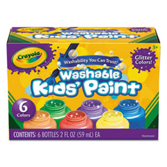 Washable Paint, 6 Colors, Blue/Green/Orange/Purple/Red/Yellow, 2 oz