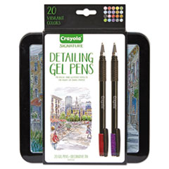 Crayola® Detailing Gel Pen, Stick, Medium 1 mm, Assorted Ink Colors, Black Barrel, 20/Pack