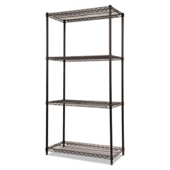 NSF Certified Industrial 4-Shelf Wire Shelving Kit, 36w x 18d x 72h, Black