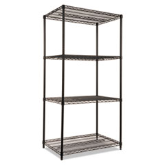 NSF Certified Industrial 4-Shelf Wire Shelving Kit, 36 x 24 x 72, Black