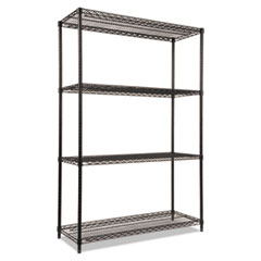 NSF Certified Industrial 4-Shelf Wire Shelving Kit, 48w x 18d x 72h, Black