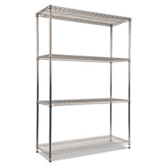 NSF Certified Industrial 4-Shelf Wire Shelving Kit, 48w x 18d x 72h, Silver