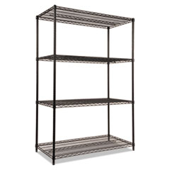 NSF Certified Industrial 4-Shelf Wire Shelving Kit, 48 x 24 x 72, Black