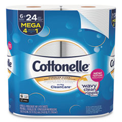 Cottonelle® Ultra CleanCare Toilet Paper, Strong Tissue, Mega Rolls, Septic Safe, 1-Ply, White, 340 Sheets/Roll, 6 Rolls/Pack, 6 Packs/CT