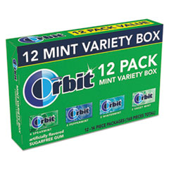Orbit® Sugar-Free Chewing Gum, Peppermint; Spearmint; Sweet Mint; Wintermint, 12/Pack