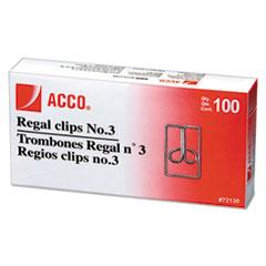 ACCO Regal Clips, Medium (No. 3), Silver, 100/Box