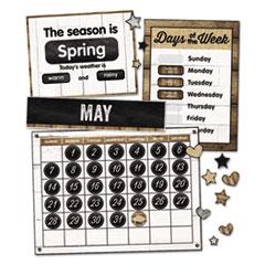 "Schoolgirl Style Calendar Bulletin Board Sets, Industrial Chic, Brown/White/Black, 23"" x 17"""